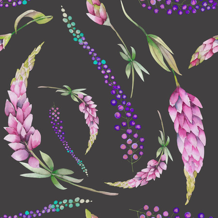 twigs: Seamless pattern with the watercolor red lupine flowers and abstract mimosa flowers, hand-drawn on a dark background Stock Photo
