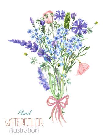 Un'illustrazione con un bouquet di bellissimo acquerello fiore blu Myosotis, fiordalisi e fiori di lavanda, isolato a mano disegnato in un acquerello su uno sfondo bianco