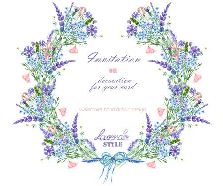 Corona con il disegno floreale; elementi della lavanda, fiordaliso, dimenticare-me-not e fiori eustoma, disegnati a mano in un acquerello; decorazione per un matrimonio, biglietto di auguri su uno sfondo bianco