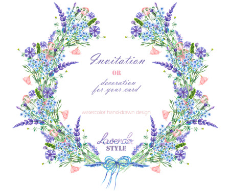 Kranz mit Blumen-Design; Elemente des Lavendel, Kornblume, Vergissmeinnicht und eustoma Blumen, von Hand gezeichnet in einem Aquarell; Dekoration für eine Hochzeit, Grußkarte auf einem weißen Hintergrund