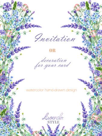 Sjabloon ansichtkaart met de elementen van de lavendel, korenbloem, vergeet-mij-nietje en Eustoma bloemen, met de hand getekend in een aquarel; bloemendecoratie voor een bruiloft, wenskaart op een witte achtergrond Stockfoto