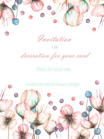 Šablona pohlednice s akvarel růžové abstraktní květiny a bobule, ručně kreslené na bílém pozadí, svatební design, blahopřání nebo pozvánka Reklamní fotografie