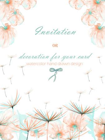 postal de la plantilla con las flores de color rosa de la acuarela de aire y de menta y Fuzzys de diente de león, dibujado sobre un fondo blanco mano, diseño de la boda, tarjeta de felicitación o invitación