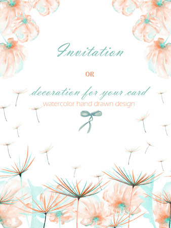Template postcard with the watercolor pink and mint air flowers and dandelion fuzzies, hand drawn on a white background, wedding design, greeting card or invitation