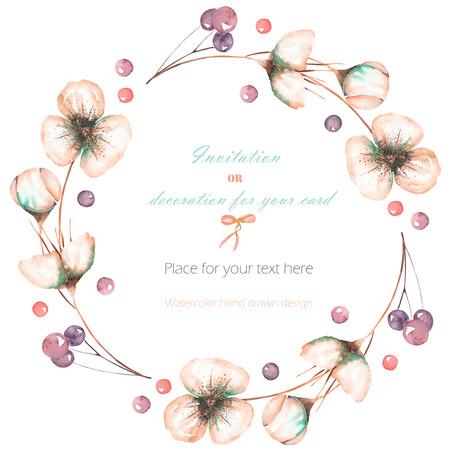 花輪、水彩ピンク抽象花と果実、サークル フレーム手白の背景、結婚式のデザイン、グリーティング カードや招待状に描かれました。 写真素材