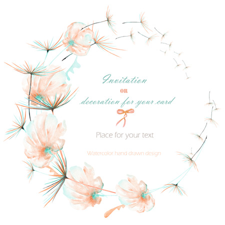 Wreath, circle frame with the watercolor pink and mint air flowers and dandelion fuzzies, hand drawn on a white background, wedding design, greeting card or invitation Archivio Fotografico