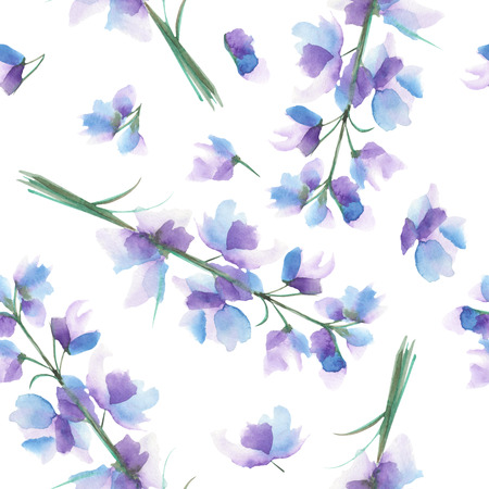 Seamless pattern with the isolated watercolor blue, purple and violet Delphinium (Larkspur) flower, hand drawn on a white background