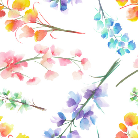 Seamless pattern with the isolated watercolor multicolored Delphinium (Larkspur) flower, hand drawn on a white background