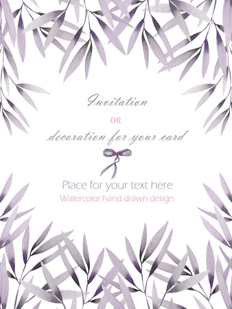 purple wreath: Frame, template postcard with the pink and purple flowers and branches hand drawn in a watercolor on a white background, greeting card, decoration postcard or invitation