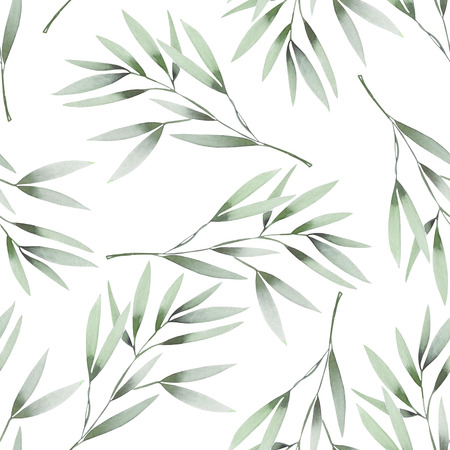 branches with leaves: Seamless floral pattern with the watercolor green leaves on the branches, hand drawn on a white background