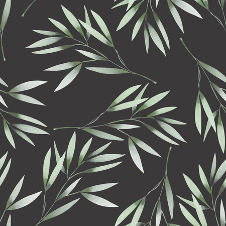 Seamless floral pattern with the watercolor green leaves on the branches, hand drawn on a dark background