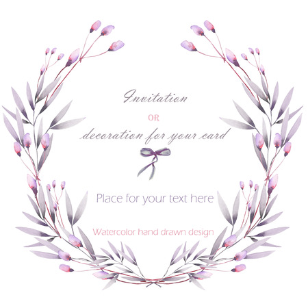 purple flowers: Circle frame, wreath of the pink and purple flowers and branches hand drawn in a watercolor on a white background, greeting card, decoration postcard or invitation Stock Photo