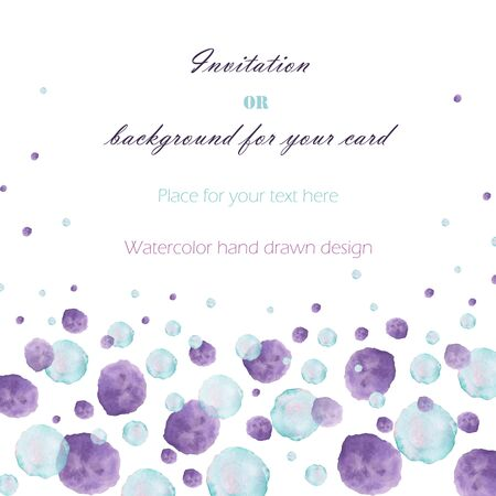 bubble background: Background, template postcard with the watercolor blue and purple bubbles (spots, blots), hand drawn on a white background, greeting card, decoration postcard or invitation Stock Photo