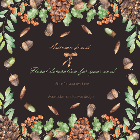 rowan tree: Background, template postcard, frame with the watercolor forest plants (oak acorns, fir cones, rowan tree), hand drawn on a dark background, greeting card, decoration postcard or invitation
