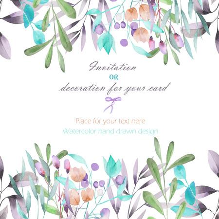 Fondo, postal plantilla con las ramas de la acuarela, flores y plantas, dibujado sobre un fondo blanco mano, tarjetas de felicitación, la postal de decoración o invitación