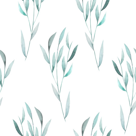 水彩の緑のシームレス花柄葉、枝に白い背景の上に描画の手