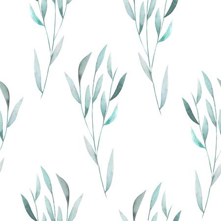 Seamless floral pattern avec le vert d'aquarelle laisse sur les branches, tiré par la main sur un fond blanc