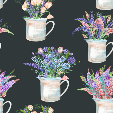 florescence: A seamless pattern with a bouquet of the beautiful wildflowers in a rustic jars, isolated hand drawn in a watercolor on a dark background