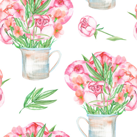 florescence: A seamless pattern with the red peonies flowers in a rustic jar, hand drawn in a watercolor on a white background