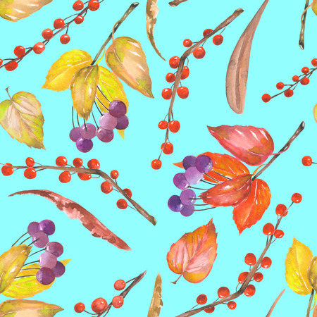 viburnum: A seamless pattern with a floral ornament of the watercolor forest elements: red and yellow autumn leaves on the branches, berries on the twigs, hand drawn on a turquoise background
