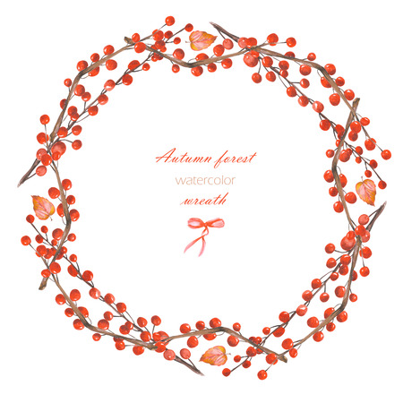 red berries: Autumn wreath (frame) of branches with the red berries painted in watercolor on a white background, greeting card, decoration postcard or invitation Stock Photo