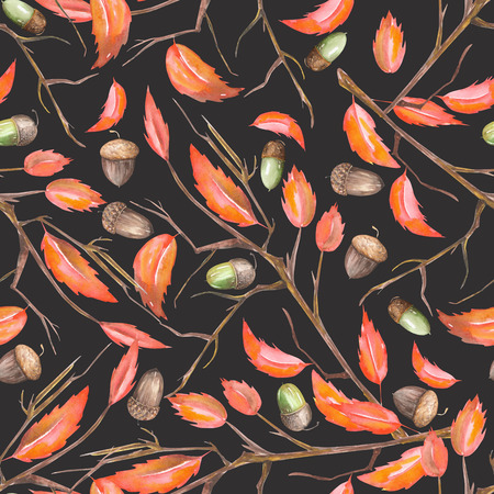 A seamless pattern with a floral ornament of the watercolor forest oak acorns and red autumn leaves on the branches on a black background Banco de Imagens