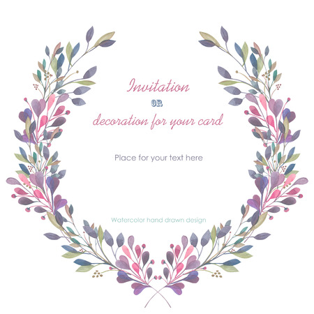 Circle frame, wreath of the pink and green branches, hand drawn in a watercolor on a white background, greeting card, decoration postcard or invitation