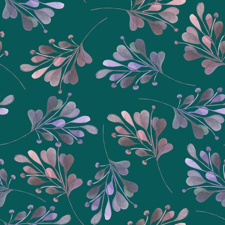 dark pastel green: Seamless pattern with the watercolor pink and purple leaves and branches on a dark green background, wedding decoration, hand drawn in a pastel Stock Photo