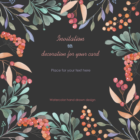 dark pastel green: Background, template postcard with a floral ornament of the watercolor green branches and red berries, hand drawn in a pastel on a dark background, background for your card and work