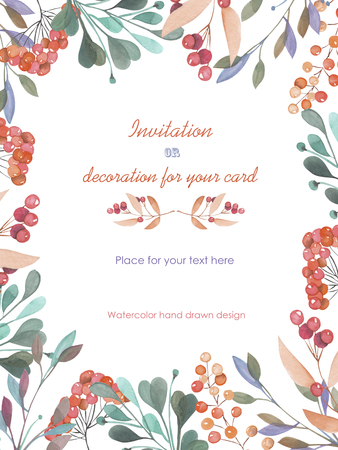 Background, template postcard with a floral ornament of the watercolor green branches and red berries, hand drawn in a pastel on a white background, background for your card and work Stockfoto