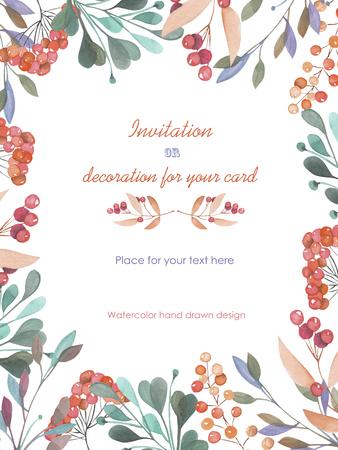 Fond, carte postale modèle avec un ornement floral de la aquarelle des branches vertes et des baies rouges, dessiné à la main dans un pastel sur fond blanc, fond pour votre carte et votre travail Banque d'images - 56890419
