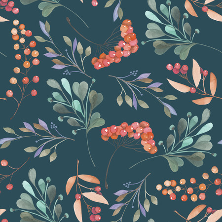 dark pastel green: Seamless pattern with the pink and green branches and berries, hand drawn in a watercolor on a dark green background, background for your card and work, hand drawn in a pastel