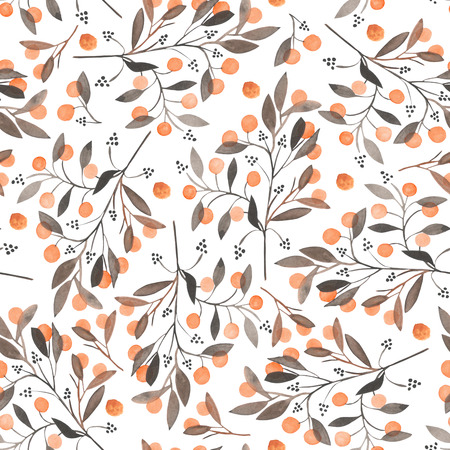 viburnum: Seamless pattern with the orange berries on the branches, hand drawn in a watercolor on a white background, background for your card and work, hand drawn in a pastel