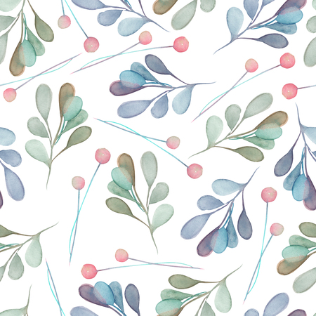 Seamless pattern with the watercolor green and blue leaves and branches on a white background, hand drawn in a pastel