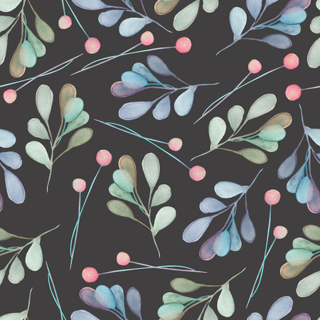 dark pastel green: Seamless pattern with the watercolor green and blue leaves and branches on a dark background, hand drawn in a pastel