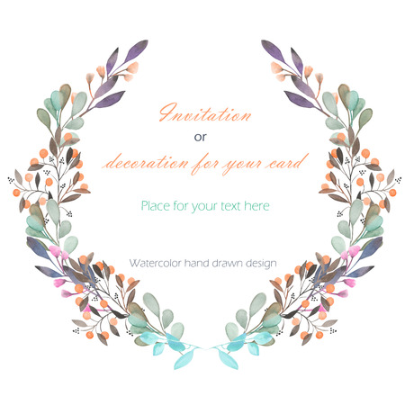 branches with leaves: Circle frame, wreath of the pink and green branches and berries, hand drawn in a watercolor on a white background, greeting card, decoration postcard or invitation Stock Photo