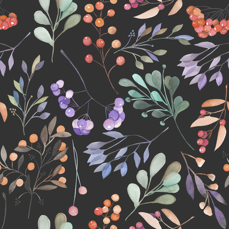 dark pastel green: Seamless pattern with the blue and green branches and berries, hand drawn in a watercolor on a dark background, background for your card and work, hand drawn in a pastel