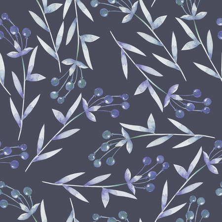 viburnum: Seamless pattern with the blue berries, hand drawn in a watercolor on a dark background, background for your card and work, hand drawn in a pastel Stock Photo