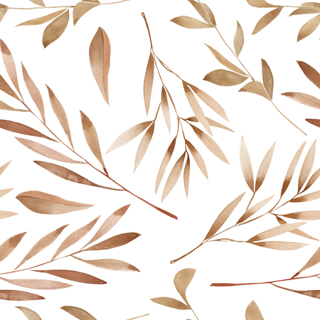 Seamless floral pattern with the watercolor brown leaves on the branches, hand drawn on a white background