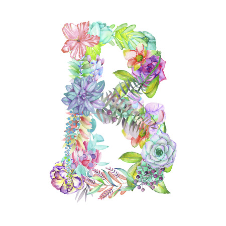 ideograph: Capital letter B of watercolor flowers, isolated hand drawn on a white background, wedding design, english alphabet for the festive and wedding decor and cards