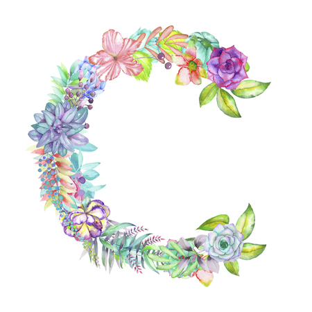 ideograph: Capital letter C of watercolor flowers, isolated hand drawn on a white background, wedding design, english alphabet for the festive and wedding decor and cards