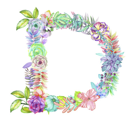 ideograph: Capital letter D of watercolor flowers, isolated hand drawn on a white background, wedding design, english alphabet for the festive and wedding decor and cards Stock Photo