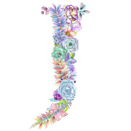 대문자 J 수채화 꽃, 격리 된 손에 흰색 배경, 결혼식 디자인, 축제 및 결혼식 장식과 카드에 대 한 영어 알파벳을 그린 스톡 콘텐츠