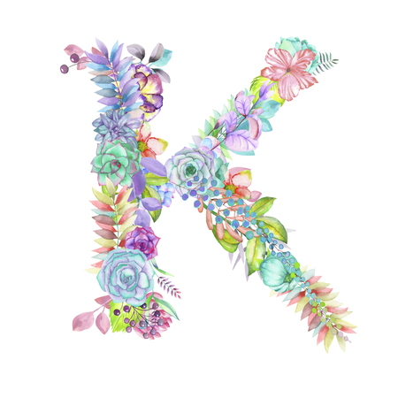 ideograph: Capital letter K of watercolor flowers, isolated hand drawn on a white background, wedding design, english alphabet for the festive and wedding decor and cards