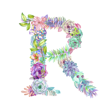 ideograph: Capital letter R of watercolor flowers, isolated hand drawn on a white background, wedding design, english alphabet for the festive and wedding decor and cards Stock Photo
