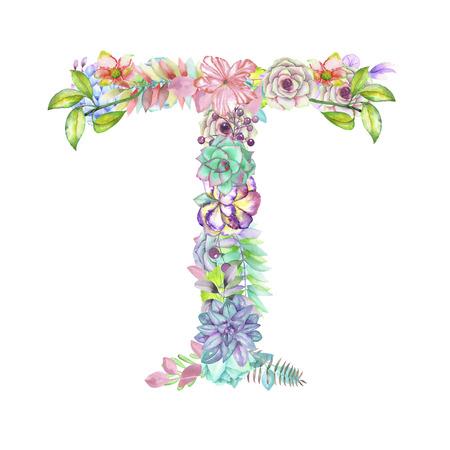 T majuscule de fleurs à l'aquarelle, isolé main dessiné sur un fond blanc, conception de mariage, alphabet anglais pour le décor et les cartes de fête et de mariage Banque d'images - 56890504