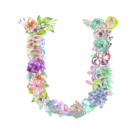 ideograph: Capital letter U of watercolor flowers, isolated hand drawn on a white background, wedding design, english alphabet for the festive and wedding decor and cards
