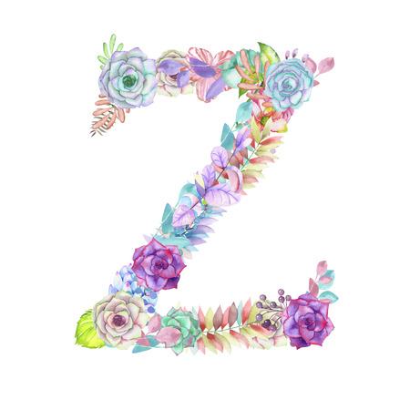 ideograph: Capital letter Z of watercolor flowers, isolated hand drawn on a white background, wedding design, english alphabet for the festive and wedding decor and cards Stock Photo