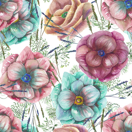anemone: Seamless pattern with the watercolor anemone flowers and grass, hand drawn on a white background