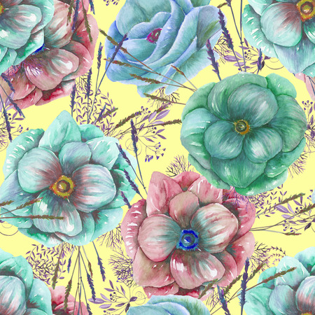 anemone: Seamless pattern with the watercolor anemone flowers and grass, hand drawn on a yellow background Stock Photo